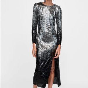 Zara Sequin Ombré Midi Dress NWT M